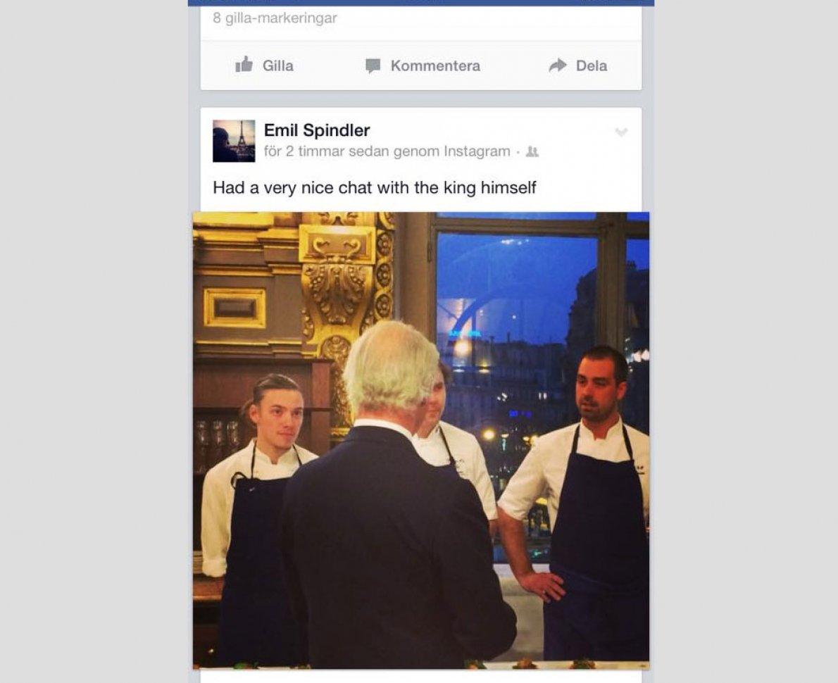 Skärmdump från facebook där en elev publicerat ett inlägg med han själv, sin klasskamrat och en lärare framför kungen.